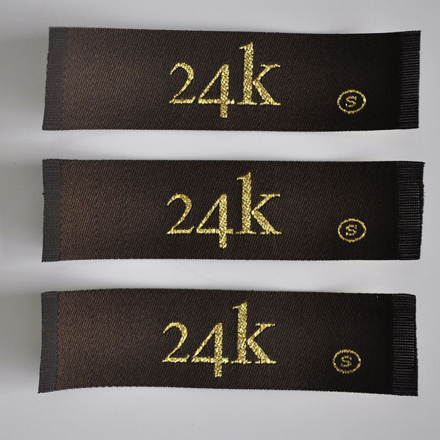 Gold thread woven label for garment QD-WL-0011