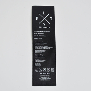 Black polyester Satin washing care printing label QD-PL-0003